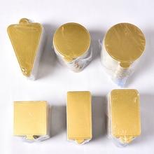 100pcs/set Golden Mousse Mat Bottom Foam Cake Base Boards Paper Board Multi Shape Dessert Tray Decoration Tools Bakeware
