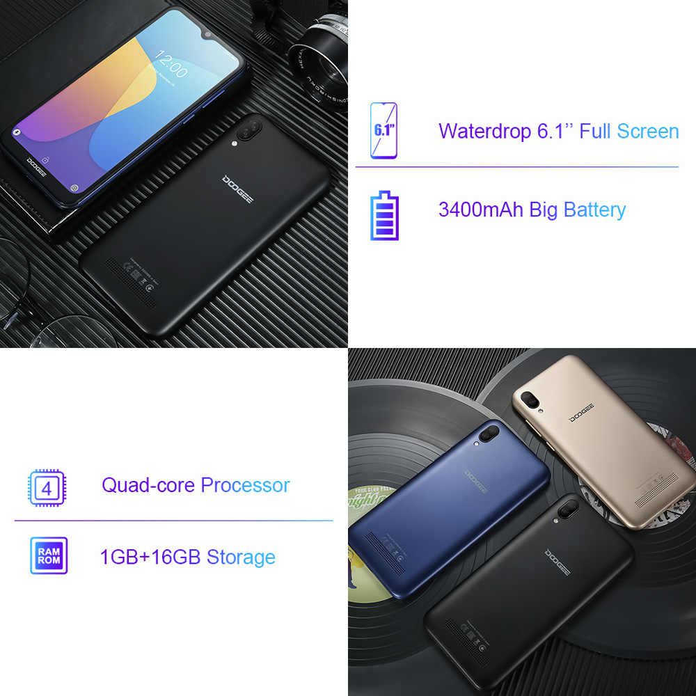 DOOGEE X90 cep telefonu 6.1 inç 19:9 Waterdrop LTPS ekran Smartphone dört çekirdekli 16GB ROM 3400mAh çift SIM 8MP + 5MP WCDMA Android gitmek