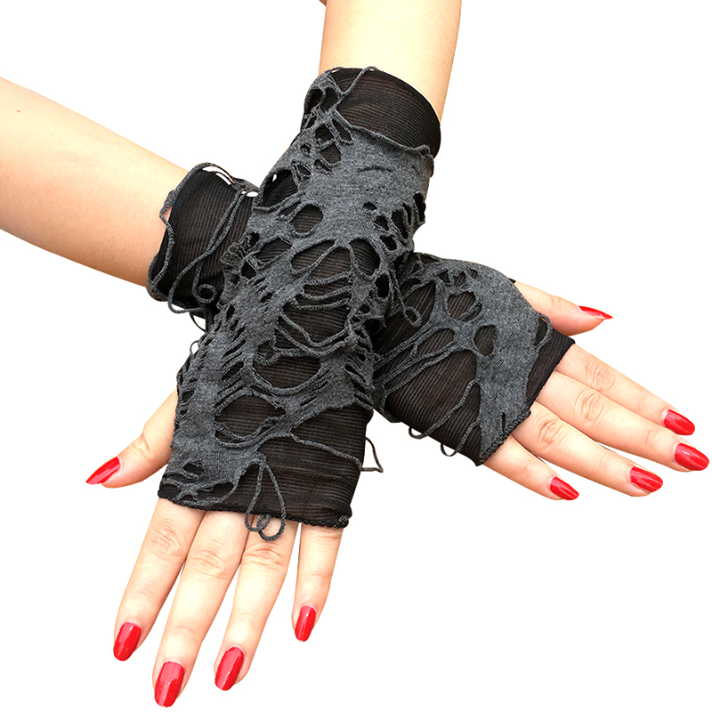 1 Pair Black Ripped Holes Fingerless Gloves Gothic Punk Halloween Cosplay Party Dress Up Accessories Shabby-Style Arm Warm Cuff