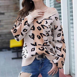 Large Size Leopard Pullover Sweater Women Sweater V-neck Sexy Fashion Leopard Print Winter Knit Patchwork Long Sleeves Loose Top