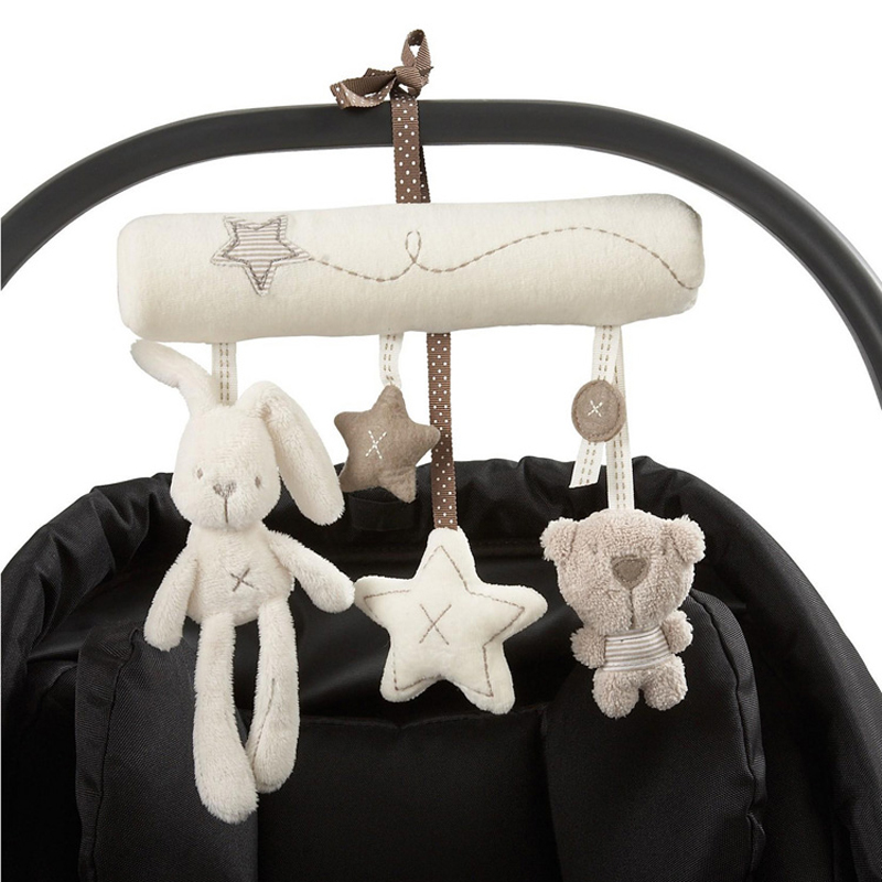Baby hanging bell with BB  baby bed safety seat plush toy Hand Bell Multifunctional Plush Toy Stroller Mobile Gifts WJ141