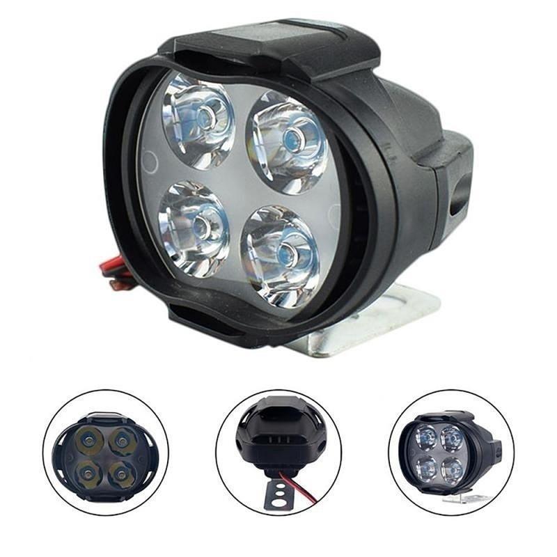 DC12V Motorcycle LED Headlight 6500K 4 LED Fog Lights Motorcycle Safe Driving High-power Spot Lamp For Car UTVs Scooter Lighting