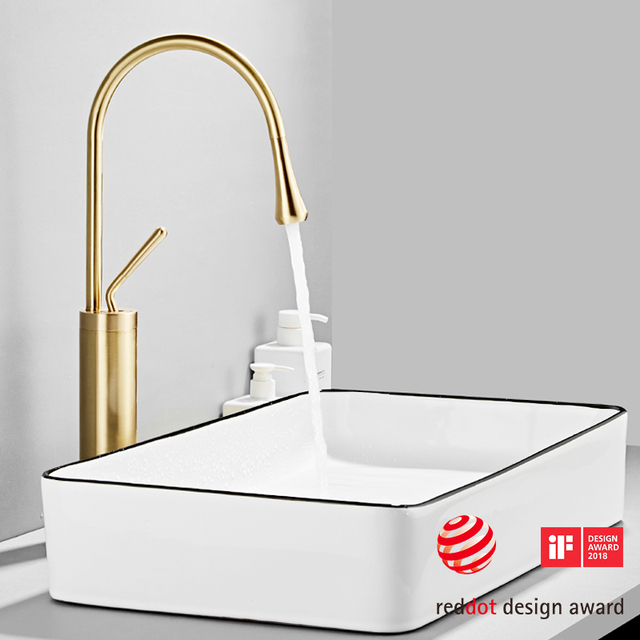 Modern Brushed Gold Basin Faucets Single Handle 360 Rotation Mixer Tap Washbasin Water Crane For Bathroom Vessel Sink Faucets 3