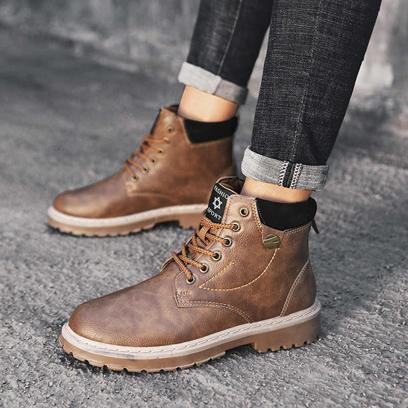 British Ankle Boots Round Toe Platform Boots for Martin Leather Men Boots Low Heels Motorcycle Boots Lace-up Winter Boots Shoes