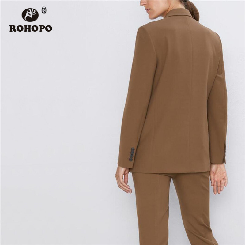 ROHOPO Double Breast Side Flaps Welted Pockets Brown Blazer Notched Collar Autumn Office Ladies Solid Outwear #6193