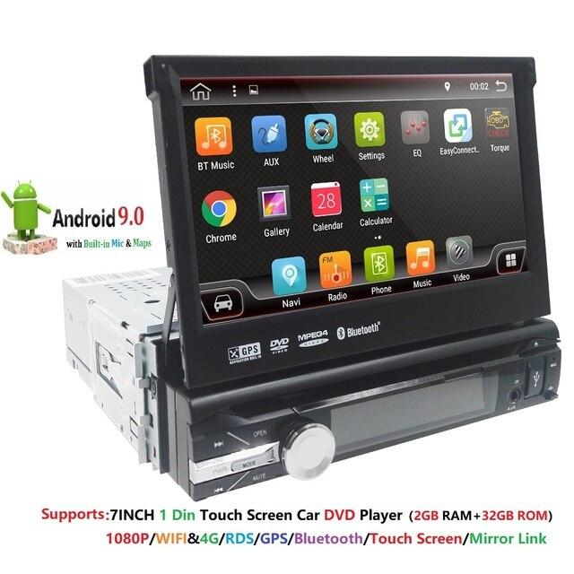 """أندرويد 9 1 الدين مشغل أسطوانات للسيارة لاعب راديو تلقائي لتحديد المواقع والملاحة 7 """"1024*600 العالمي واي فاي بلوتوث USB RDS ستيريو مشغل وسائط متعددة 4G"""