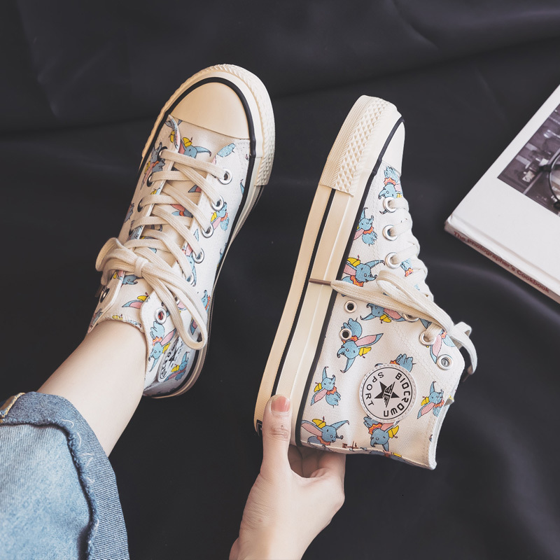 2019 Autumn New Women Canvas Shoes With Big Ears Small Flying Elephants Girls Sneakers Cartoon Animals High Top Trainers 35-40