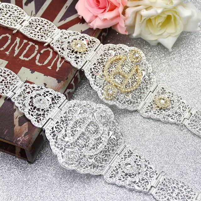 Sunspicems Zilver Kleur R Metalen Taille Ketting Riem Voor Vrouwen Marokko Caftan Riem Europa Bruiloft Banket Body Sieraden Bruids Gift