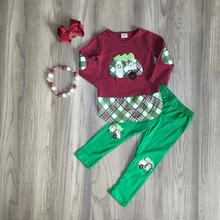 크리스마스 트리 가을/겨울 아기 소녀 와인 그린 캠퍼 의상 코튼 바지 옷 주름 장식 부티크 세트 일치 액세서리