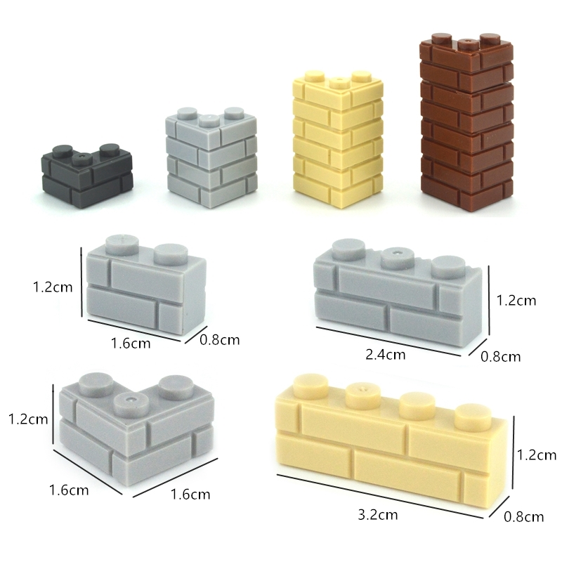 Classic Building Blocks 98283 15533 Thick Wall Bricks City Accessories Military MOC Parts Sandbags Stairs Ladders DIY Fence 6020