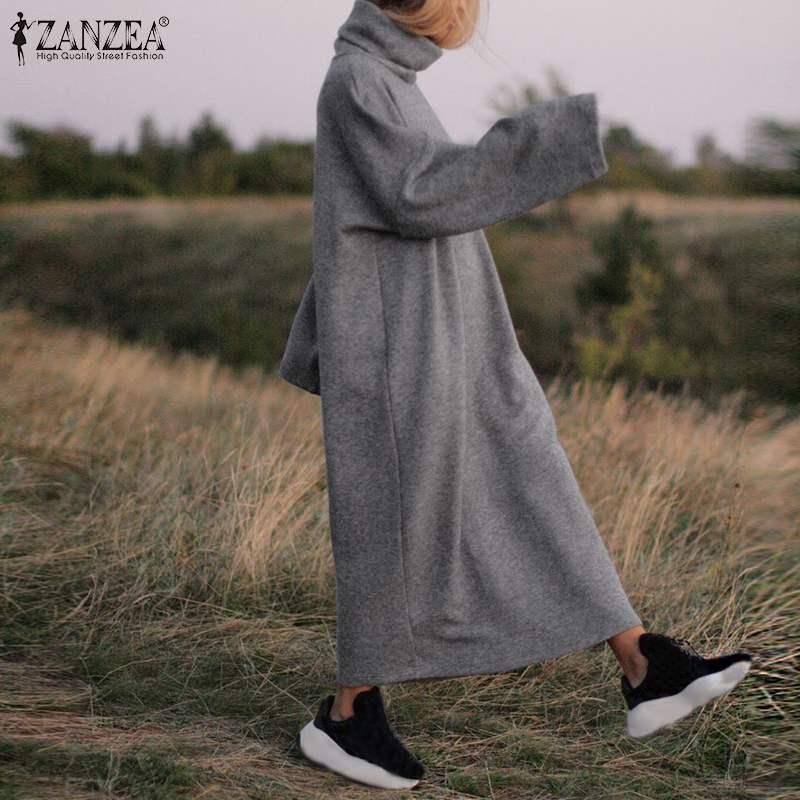 ZANZEA Plus Size Women Long Maxi Dress Casual Turtleneck Pullover Sweatshirt Dresses Female Sweatshirts Maxi Vestidos Robe Femme