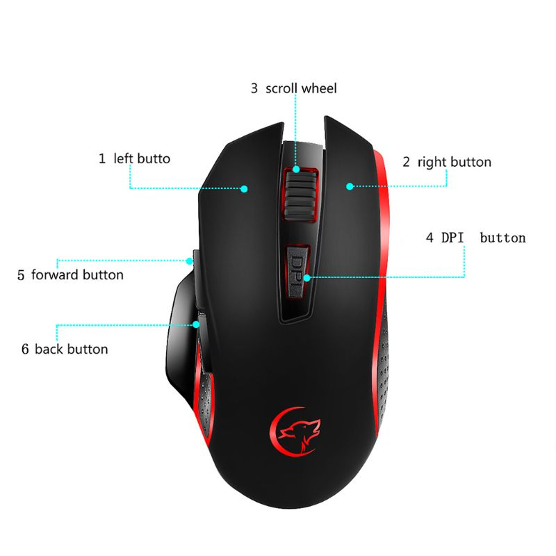 Gaming Mouse Rechargeable Wireless Adjustable 2400DPI Optical Computer Mice 2.4GHz USB Receiver PC Laptop Desktop