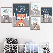 Cartoon Bear Fox Owl Rabbit Wall Art Canvas Painting Nordic Posters And Prints Animals Pictures For Kids Room Decor