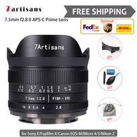 7 artesanais lente de câmera 7.5mm f/4/3 ii, olho de peixe, lente de câmera para viagem, ângulo amplo para canon sony micro frete grátis