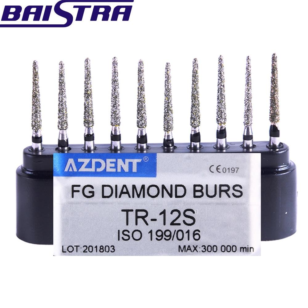 TR-12S 10 Pcs/set Dental High Speed Diamond Burs  Dentist Super Coarse Diamond Dental Lab Tools