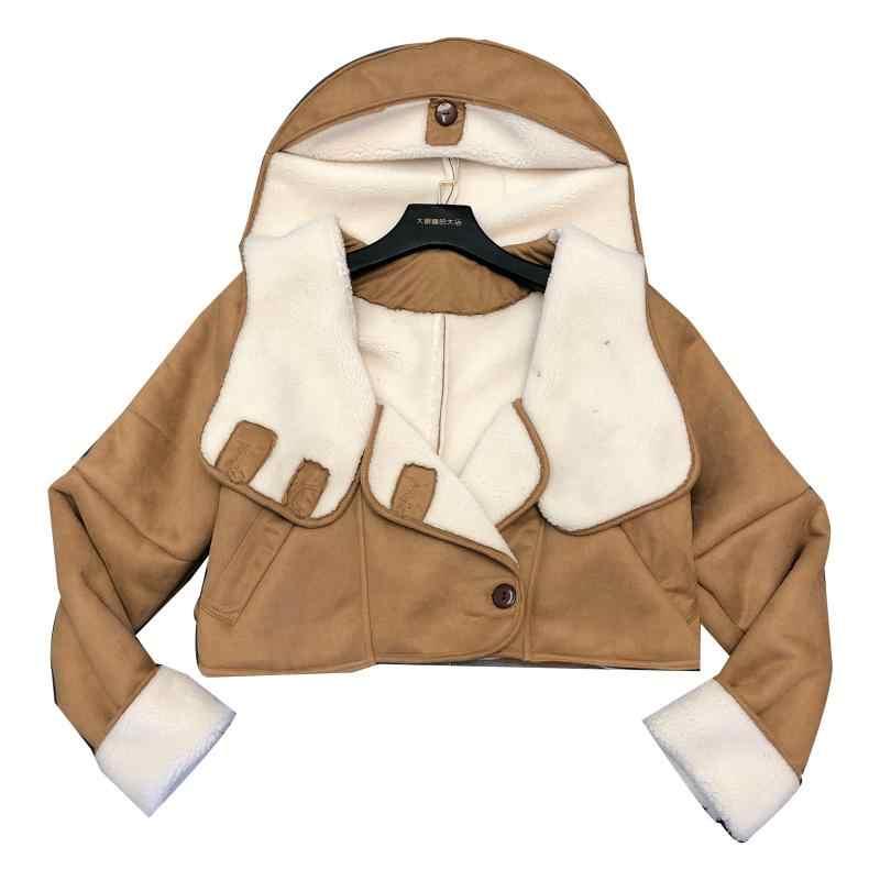 una hebilla abrigo fila e con doble 2019 Otoño corto chaqueta solapa de camel de cordero Invierno capucha nueva piel bgyY7f6