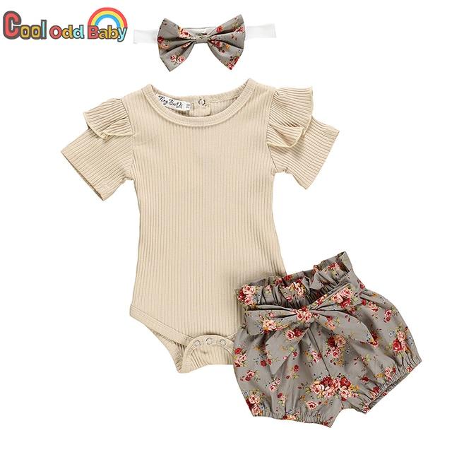 Baby Girl's Romper Shorts Hairband Summer Set 1