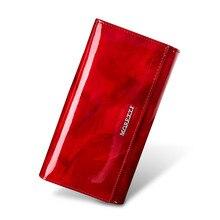 정품 가죽 여성 지갑 레저 지갑 2020 새로운 패션 여성 지갑 여성 긴 동전 지갑 카드 소지자 빨간색 지갑