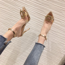 2020 Summer Luxury Women Transperant Crystal Sandals Designer Gold Silver Thin High Heels Cinderella Sandals Party Wedding Shoes(China)