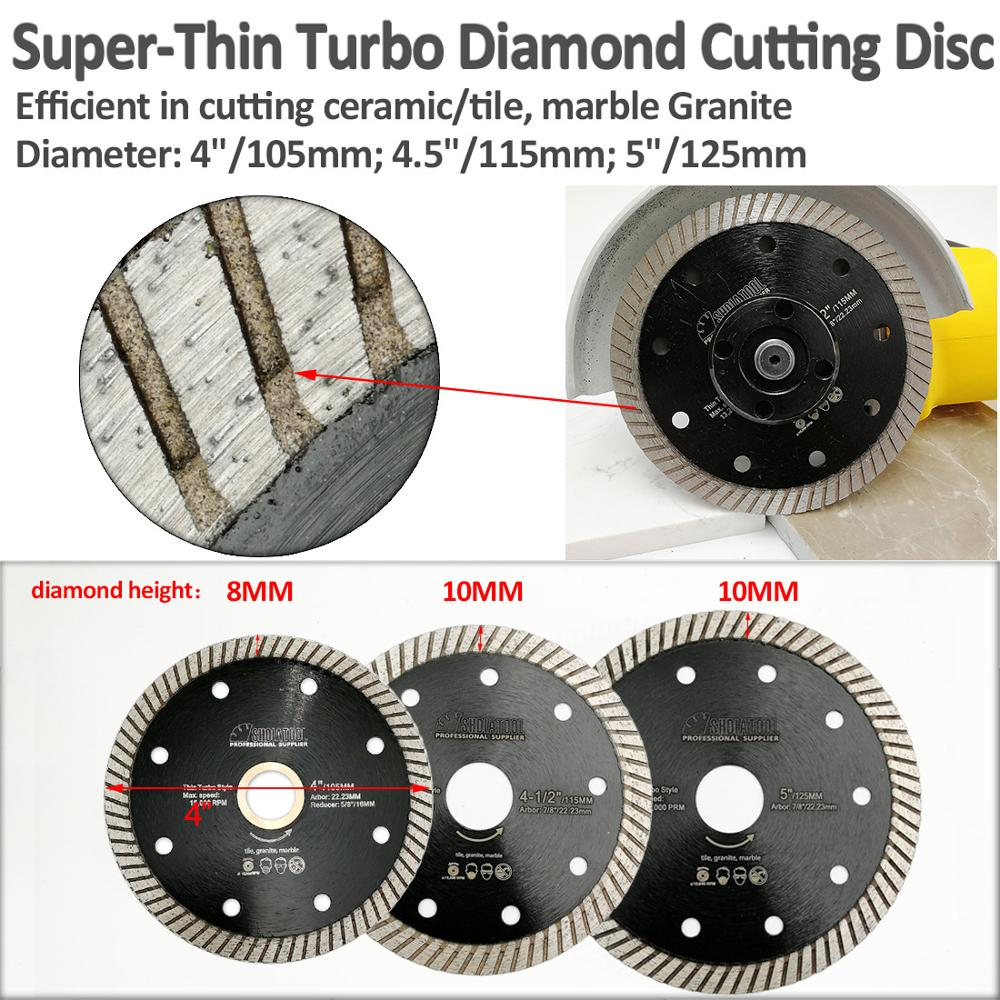 "Купить с кэшбэком SHDIATOOL 2pcs Super-Thin Diamond Turbo Blades Ceramic Tile Granite Cutting Disc Ramic Granite Sawblade 4"" 4.5"" 5"" Diamond Wheel"