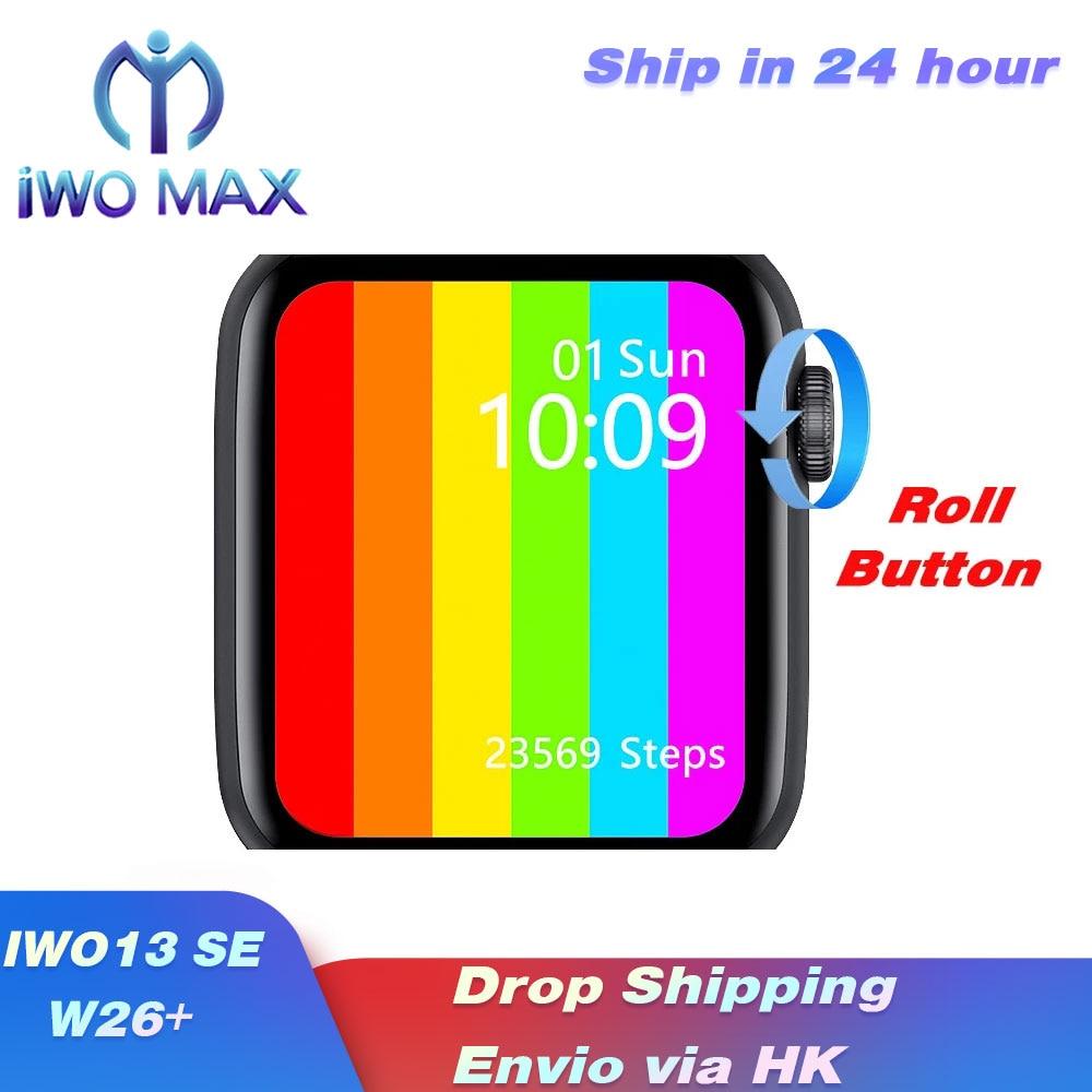 2021 iwo 13 max relógio inteligente botão rolo infinitescreen chamada de telefone ecg heartrate bloodpressure banda à prova dwágua w26plus sportwatch|Relógios inteligentes| - AliExpress