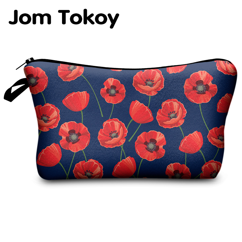 Jomtokoy  Women Flowers Printing PatternTravel Cosmetic Bag Makeup Bag Handbag Female Zipper Purse Small Cosmetics Make Up Bags