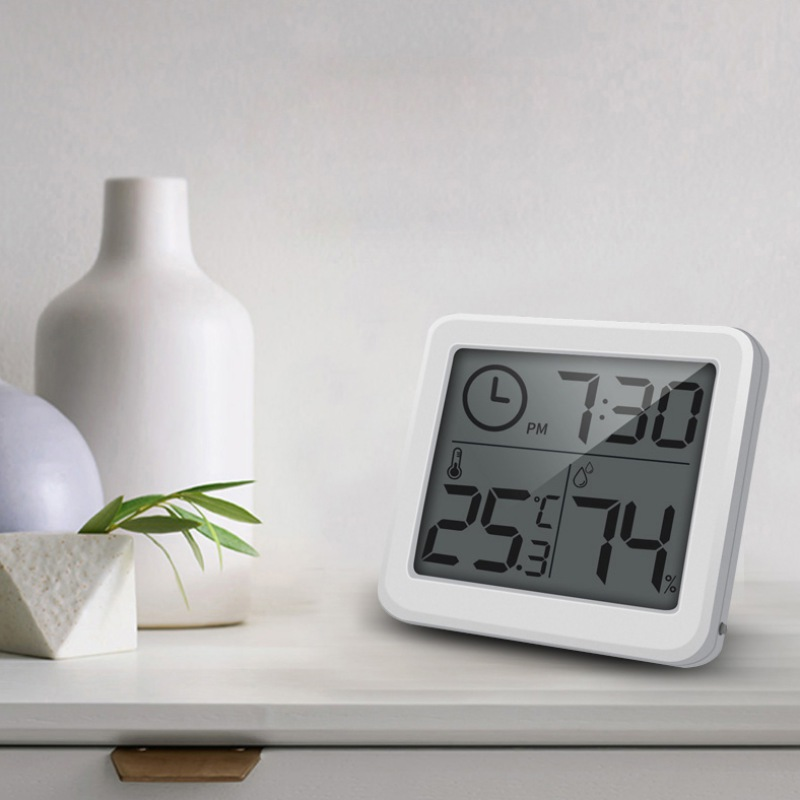Automatic Electronic Temperature Humidity Monitor Clock Multifunction Thermometer Hygrometer Large LCD Screen