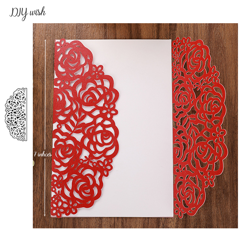 Rose Edge Dies Wedding Invitations Border Metal Cutting Dies New 2019 For Scrapbooking Party Greeting Cards Making Tools