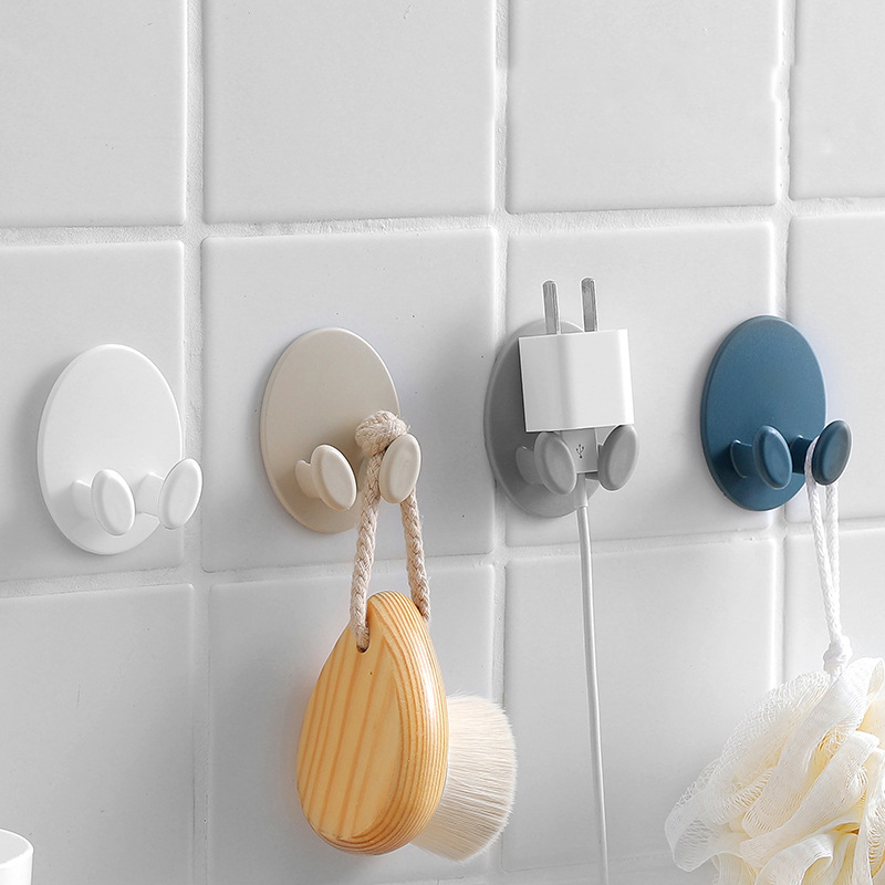 2pcs/set Hook Oval Socket Hook Power Cord Storage Rack Creative Plug Strong Stick Hook Plug Finishing Nail-Free Stick Hook