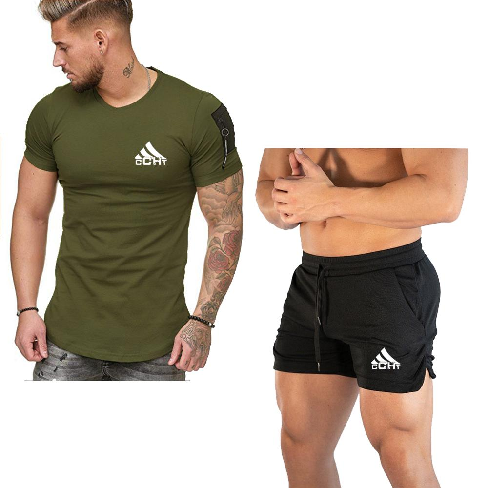 Brand Men's Print Tracksuit Casual Short Sets Men Cotton Sports Suit Shorts+T Shirt 2 Piece Sets Brand Sportswear Slim Outfits