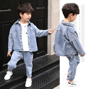 Baby boys clothes sets 4-13 years old spring and autumn 2-pieces-sets Korean Solid color big pocket denim suit coat +jeans new 2017 spring boys letter patch denim clothing sets 3pcs kids clothes sets baby boys denim suit kids jeans