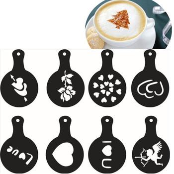 Kawa pull kwiat formy nadruk kawy model fantazyjne kawy plastikowe 8 sztuk zestaw do kawy tanie i dobre opinie SIBAOLU Z tworzywa sztucznego