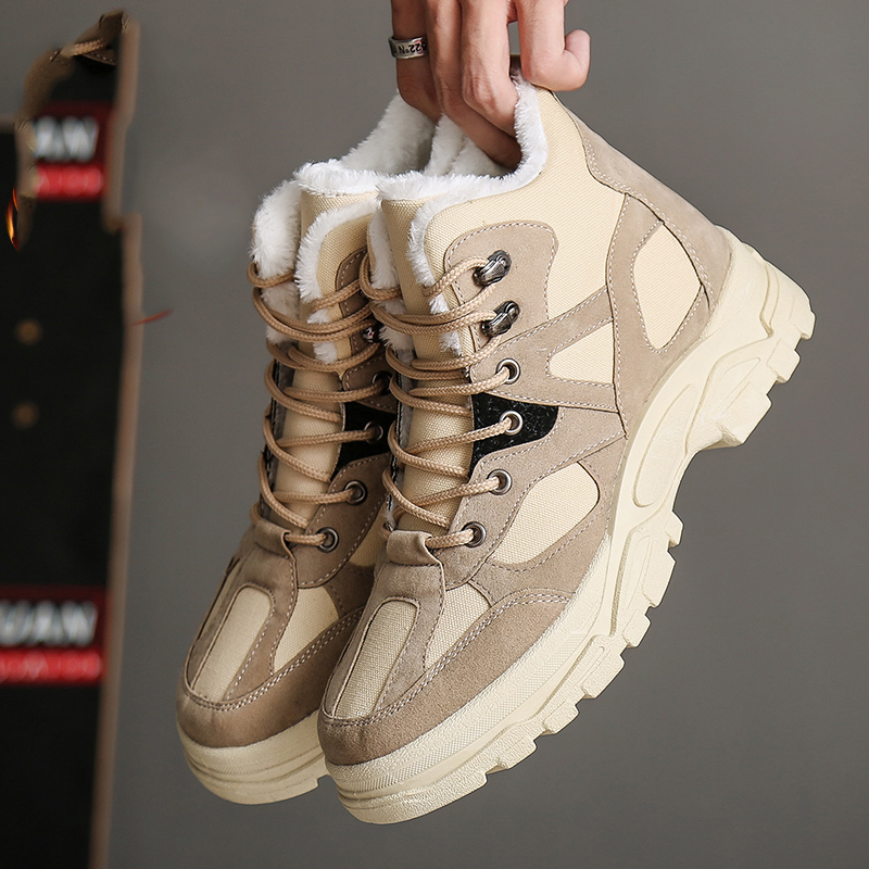 New Size 39-44 Autumn Winter Fashion Ankle Snow Men Boots Shoes With Fur Plush Warm Male Fashion Casual Boot Sneakers