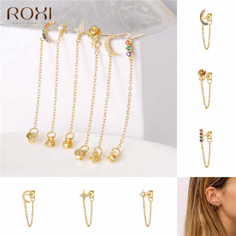 ROXI Minimalism 925 Sterling Silver Earrings for Women Jewelry Long Tassel Drop Earrings Rainbow CZ Pearl Flower Dangle Earrings