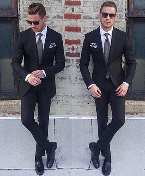 New Classic Style Groom Tuxedos Two Button Black Peak Lapel Groomsmen Best Man Suit Mens Wedding Suits (Jacket+Pants)