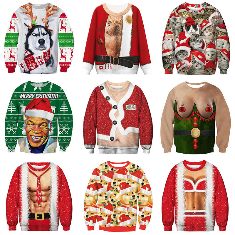 2019 Ugly Christmas Sweater Funny Christmas Party Sweater Men Women Sweaters Long Sleeve 3D Santa Claus Pullover Men Sweter