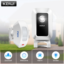 KERUI אלחוטי חנות חנות בברכה דלת כניסה חכם פעמון עם כפתור וילונות אינפרא אדום Motion גלאי דלת אזעקה