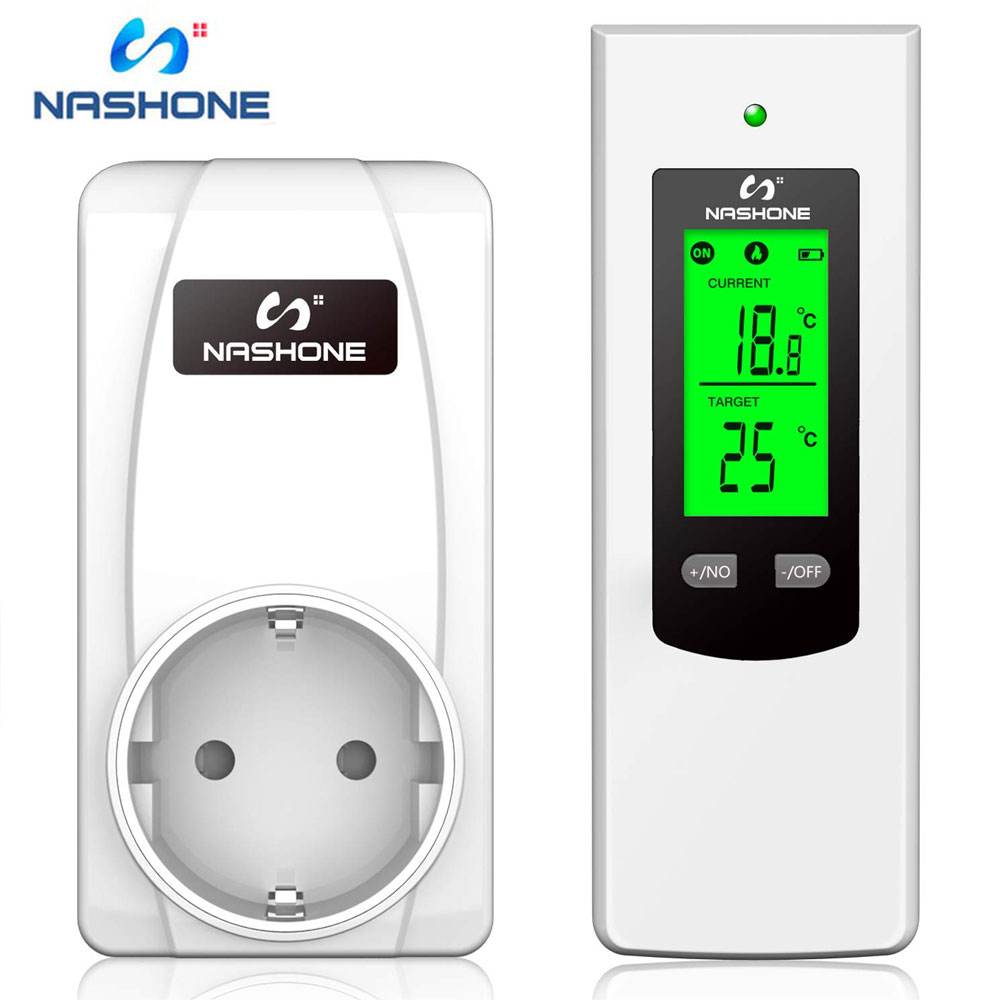 Nashone Wireless Thermostat Socket LCD Display Digital Temperature Controller With Heating And Cooling Modes Memory Function.