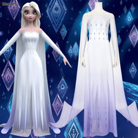 Princess Elsa Costume Cosplay White Dress Ice Snow Queen Girls Diamond Dress Adult Girls Women Halloween Carvinal Outfit