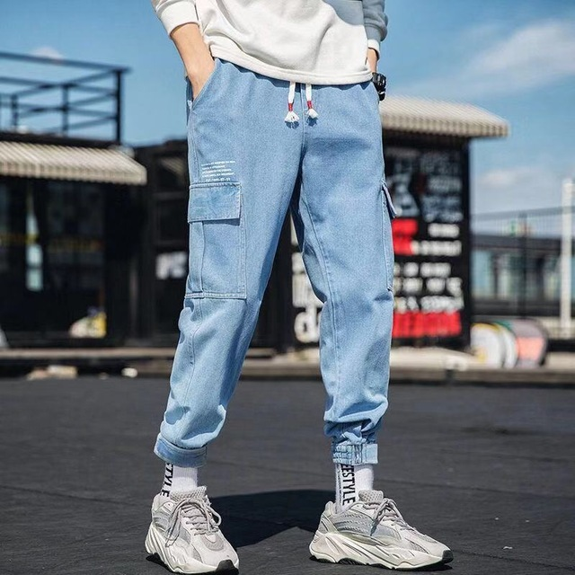 Hip Hop Streetwear Harem Jeans Pants Men Loose Joggers Denim Casual Sweatpants Korea Ankle length Trousers 3