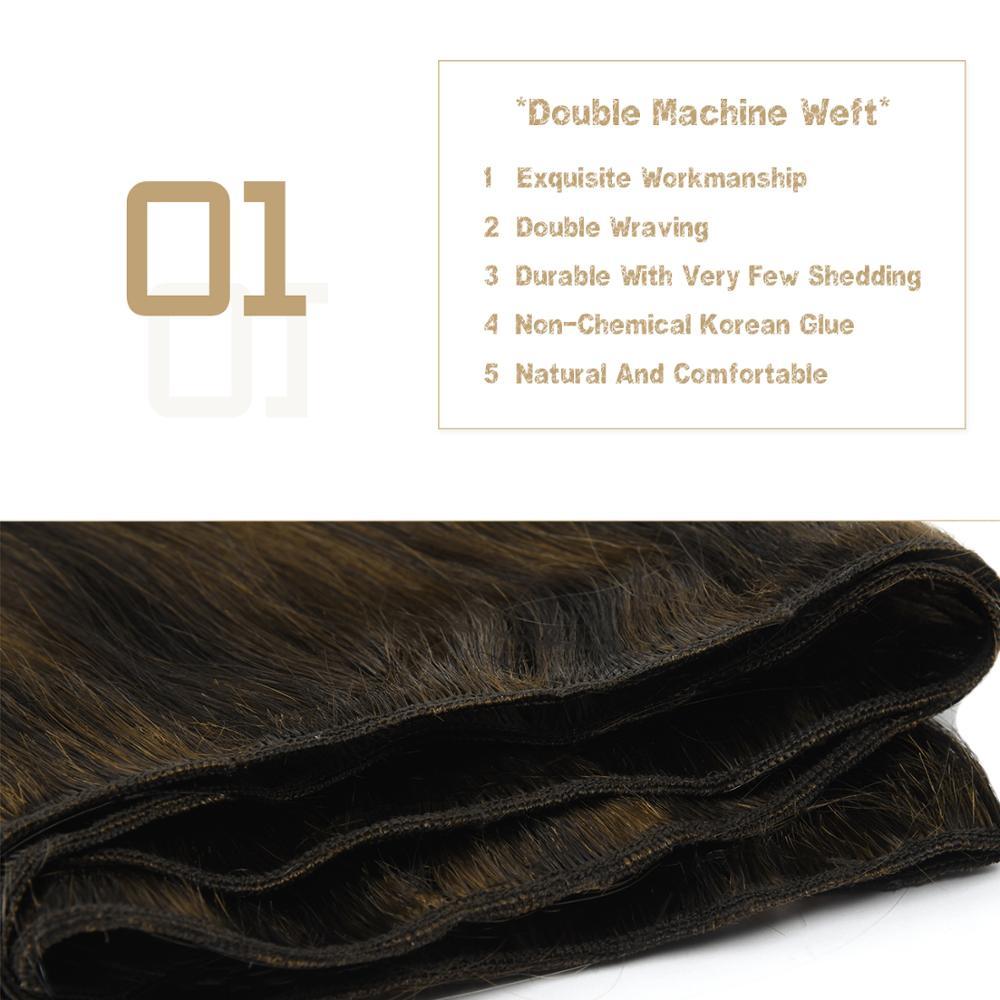 Vlasy 22'' 100% Remy Human Hair Weft Vanilla & Caviar Balayage Color Straight Double Drawn Hair Weave Bundles 100g/pc