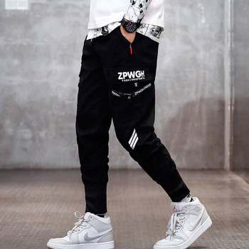 Men cargo pants 2020 new spring and autumn black letter pockets cotton male ankle-length pants teenager boys Korean style n58 men cargo pants 2019 new arrival spring and autumn black pockets plus size male ankle length pants korean style hot sale n07