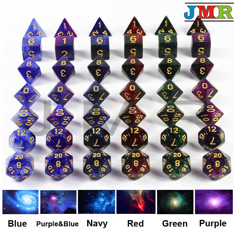 New Arrival 6 Color Creative Universe Galaxy Dice Set Of D4-D20 With Mysterious Royal Glitter Powder Amazing Effect For DND RPG