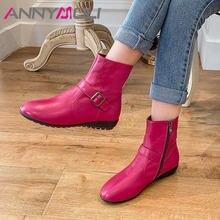 Annymoli/женские ботинки из натуральной кожи ботильоны на плоской