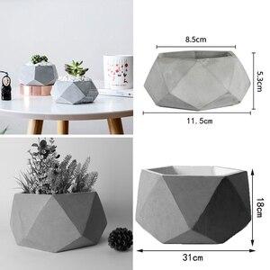 Цементный цветочный горшок, силиконовая форма, большой цветочный горшок геометрической формы, креативный домашний дизайн, цветочный горшо...