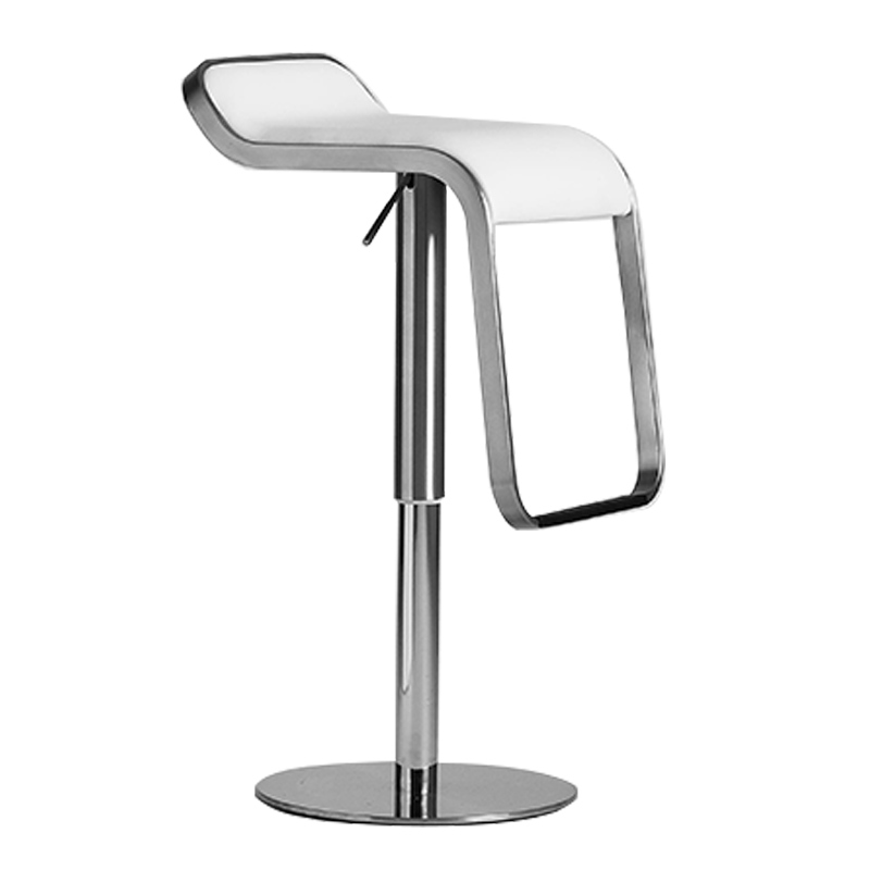 European Style Simple Stainless Steel Front Bar Stool Chair   High  Lift   Leather