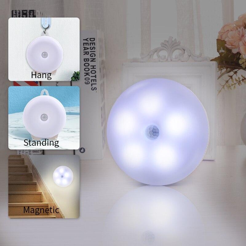 Détecteur de mouvement LED lumière USB Rechargeable veilleuse magnétique lampe d'escalier appliques murales pour couloir salle de bain chambre cuisine