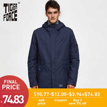 TIGER FORCE Men's Jacket Spring Double-layer Hooded Coat Cotton Padded Solid Jacket Men Medium-Long Casual Windbreaker Coat - DISCOUNT ITEM  48% OFF All Category