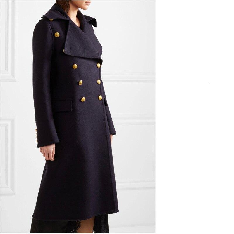 2019 nouveau automne hiver femmes surdimensionné Double boutonnage militaire laine Long manteau vêtements de dessus pour femmes manteau femme abrigos mujer