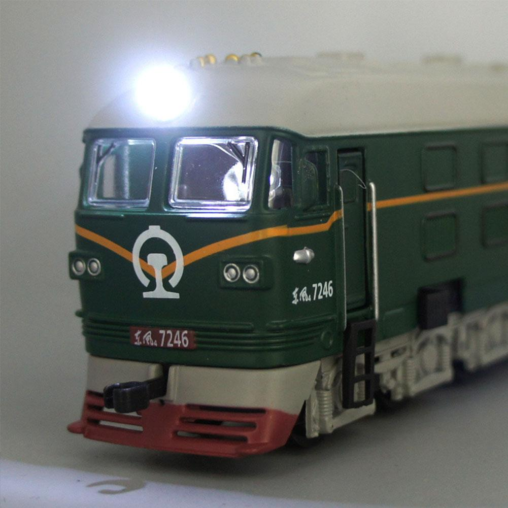 Dongfeng Diesel Locomotive Alloy Locomotive Model Sound And Light Pull Back Classical Green Leather Train Model Children's Toys